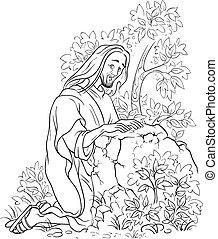 gethsemane, jardin, jesus., prière