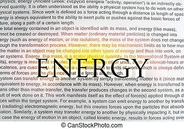getippt, text, energie, auf, papier