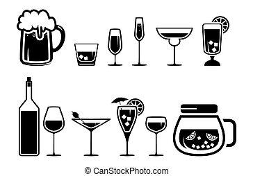 getränk, alkohol, getränk, heiligenbilder, satz