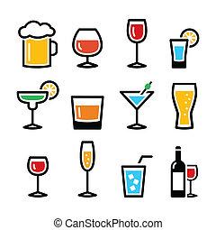getränk, ico, alkohol, bunte, getränk
