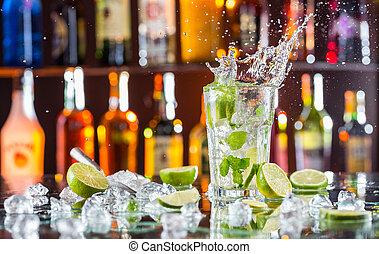 getränk, mojito, bankschalter, bar, cocktail