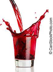 getränk, rotes , gießen