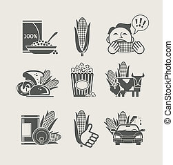 getreide, satz, produkte, ikone