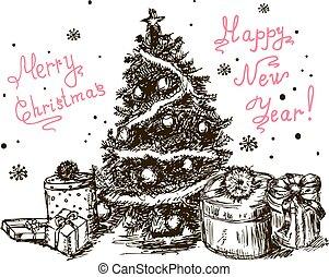 getrokken, 5, kerstboom, hand
