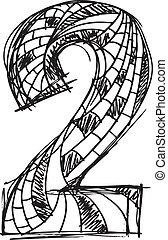 getrokken, abstract, 2, getal, hand