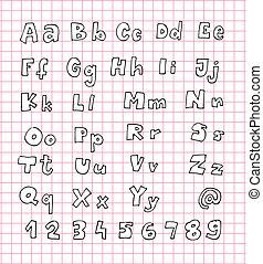 getrokken, alfabet, hand, alfabet