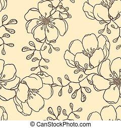 getrokken, bloemen, vector, achtergrond, hand