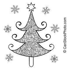 getrokken, boompje, kerstmis, hand