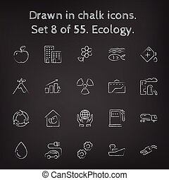 getrokken, ecologie, set, pictogram, chalk.
