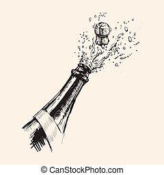 getrokken, explosion., champagne, illustratie, hand