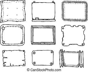 getrokken, frame, vector, set, hand