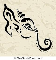 getrokken, ganesha, illustration., hand