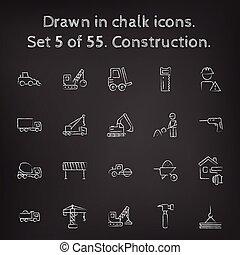 getrokken, gebouw stel, pictogram, chalk.