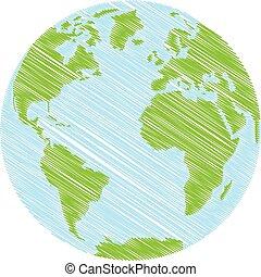 getrokken, globe, hand