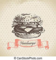 getrokken, hamburger., illustratie, hand