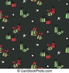 getrokken, hand, achtergrond, jaar, nieuw, kerstmis
