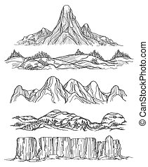 getrokken, hand, heuvels, bergen
