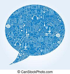 getrokken, iconen, media, -, hand, vorm, toespraak, sociaal, doodles, bel