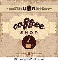 getrokken, koffie, etiketten, hand, ouderwetse