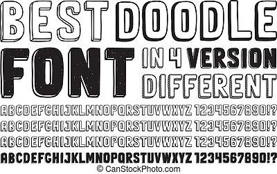 getrokken, lettertype, set, hand, doodle