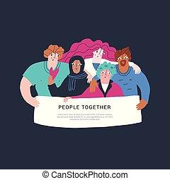 getrokken, multiethnic, hand, vriendschap, spandoek
