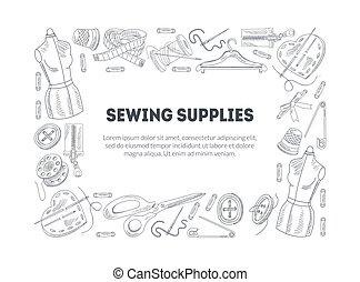 getrokken, naaiwerk, ruimte, accessoires, frame, monochroom, tekst, mal, toebehoren, hand, naaiwerk, vector, rechthoekig, illustratie, grens