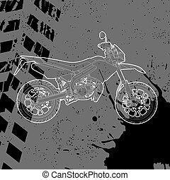 getrokken, omtrek, motorfiets