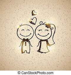 getrokken, paar, hand, trouwfeest