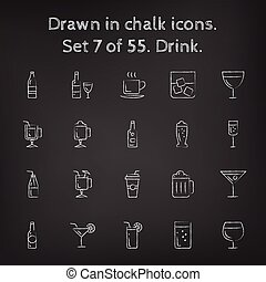 getrokken, pictogram, set, drank, chalk.