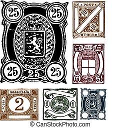 getrokken, postzegels, vector, retro, hand
