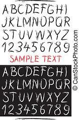 getrokken, schets, alfabet