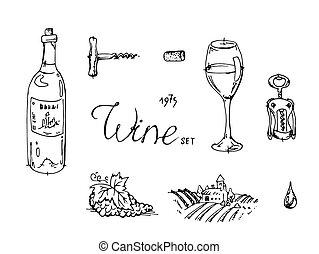 getrokken, schets, set, hand, wijntje