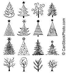getrokken, set, boompje, kerstmis, hand