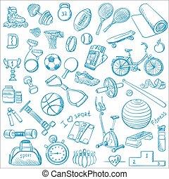 getrokken, set, doodle, hand, fitness