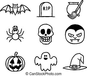 getrokken, set, halloween, hand, pictogram