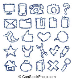 getrokken, set, hand, iconen