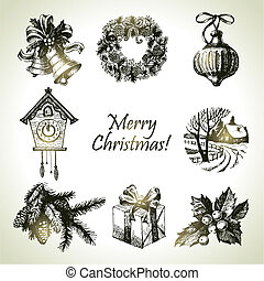 getrokken, set, kerstmis, hand