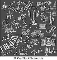 getrokken, set, muziek, hand