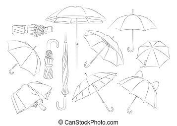 getrokken, set., paraplu's, hand