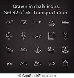 getrokken, set, transpotration, pictogram, chalk.