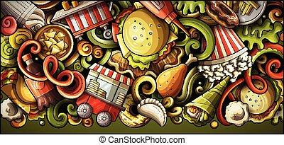 getrokken, spotprent, fastfood, hand, banner., gedetailleerd, illustraties, doodle