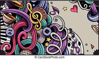 getrokken, spotprent, hand, illustrations., banner., gedetailleerd, muziek, doodle