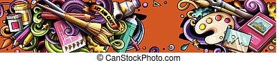 getrokken, spotprent, kunstenaar, hand, illustrations., banner., gedetailleerd, doodle