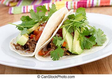 getrokken, varkensvlees, zachte taco