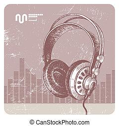 getrokken, vector, hand, headphones