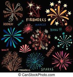 getrokken, vuurwerk, set, kleurrijke, hand