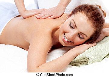 Getting a massage.