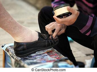 Getting a shoe shine