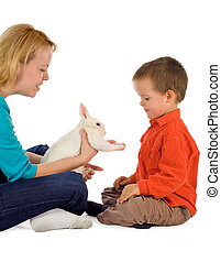 Getting acquainted with a bunny - Mother introducing a bunny...