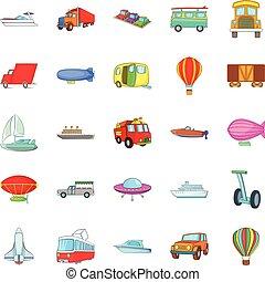 Getting around the world icons set, cartoon style
